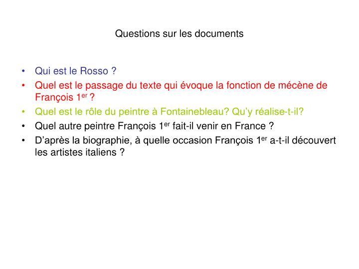 Questions sur les documents