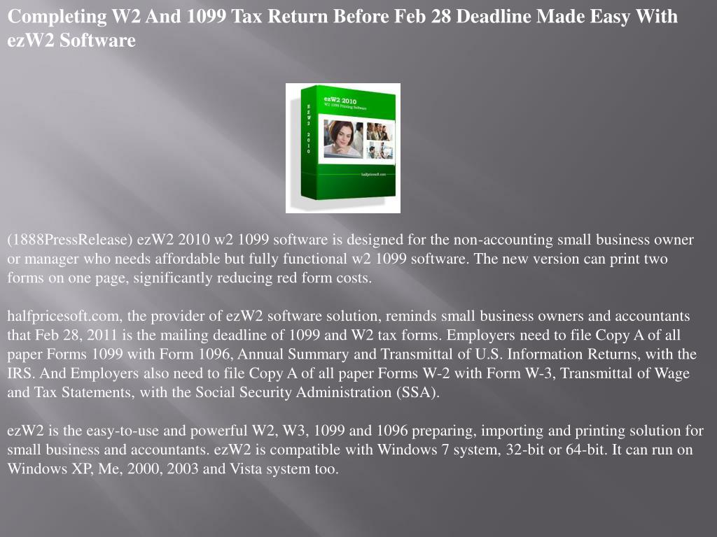 Completing W2 And 1099 Tax Return Before Feb 28 Deadline Made Easy With ezW2 Software