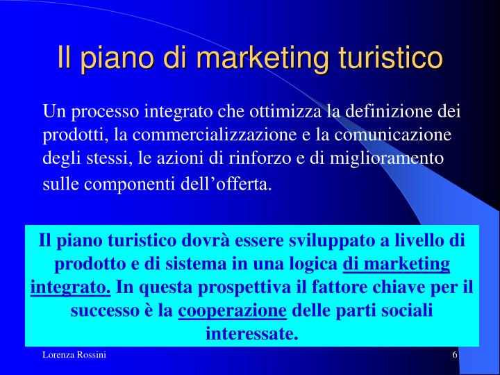 Il piano di marketing turistico
