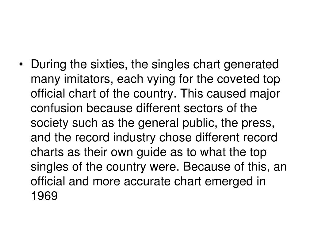 During the sixties, the singles chart generated many imitators, each vying for the coveted top official chart of the country. This caused major confusion because different sectors of the society such as the general public, the press, and the record industry chose different record charts as their own guide as to what the top singles of the country were. Because of this, an official and more accurate chart emerged in 1969