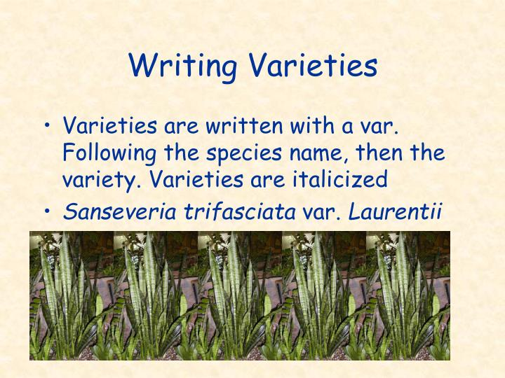 Writing Varieties