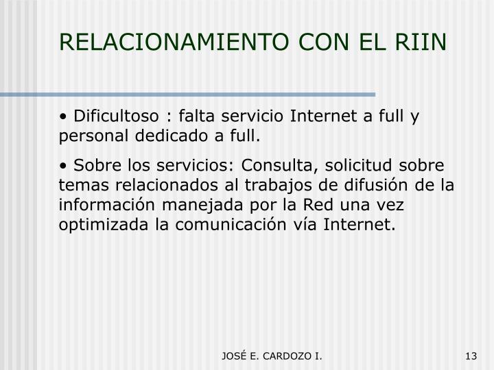 RELACIONAMIENTO CON EL RIIN
