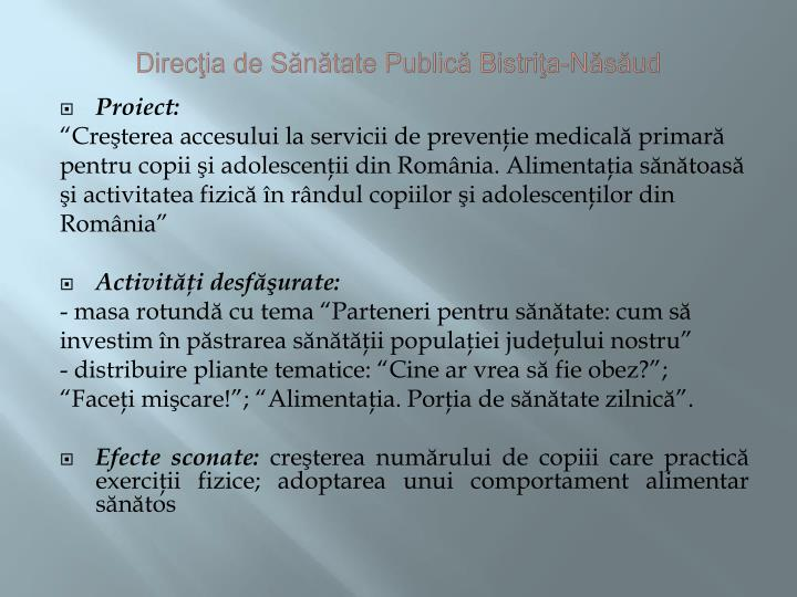 Direcţia de Sănătate Publică Bistriţa-Năsăud