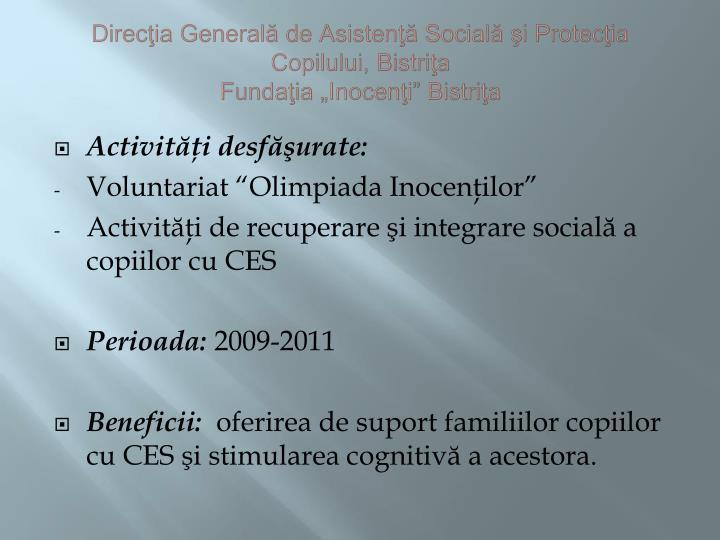 Direcţia Generală de Asistenţă Socială şi Protecţia Copilului, Bistriţa