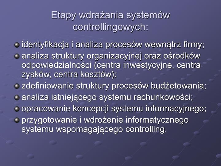 Etapy wdrażania systemów controllingowych: