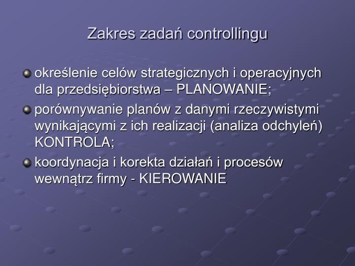 Zakres zadań controllingu