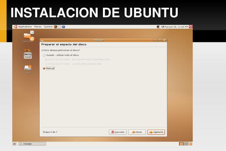 INSTALACION DE UBUNTU