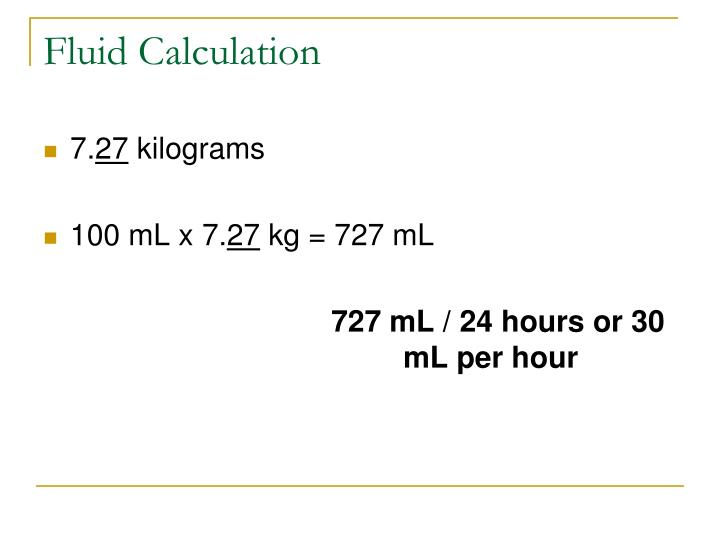 Fluid Calculation