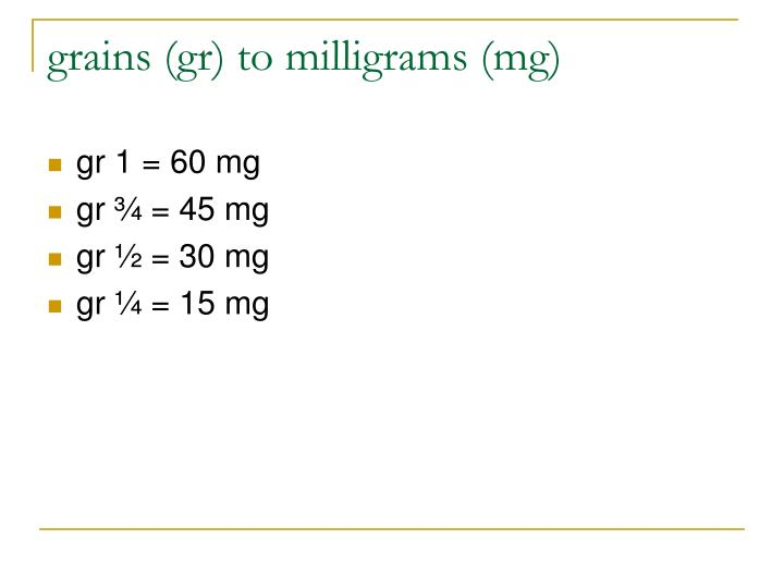 grains (gr) to milligrams (mg)