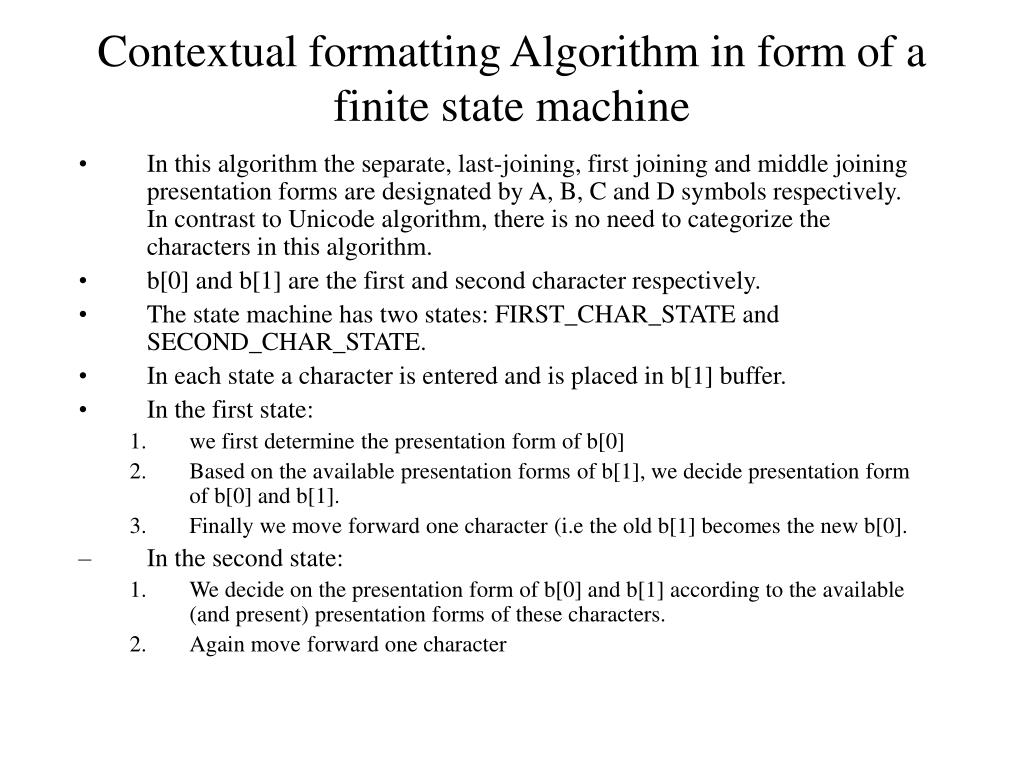 Contextual formatting Algorithm in form of a finite state machine