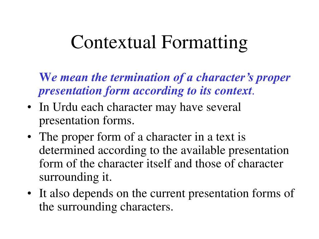 Contextual Formatting
