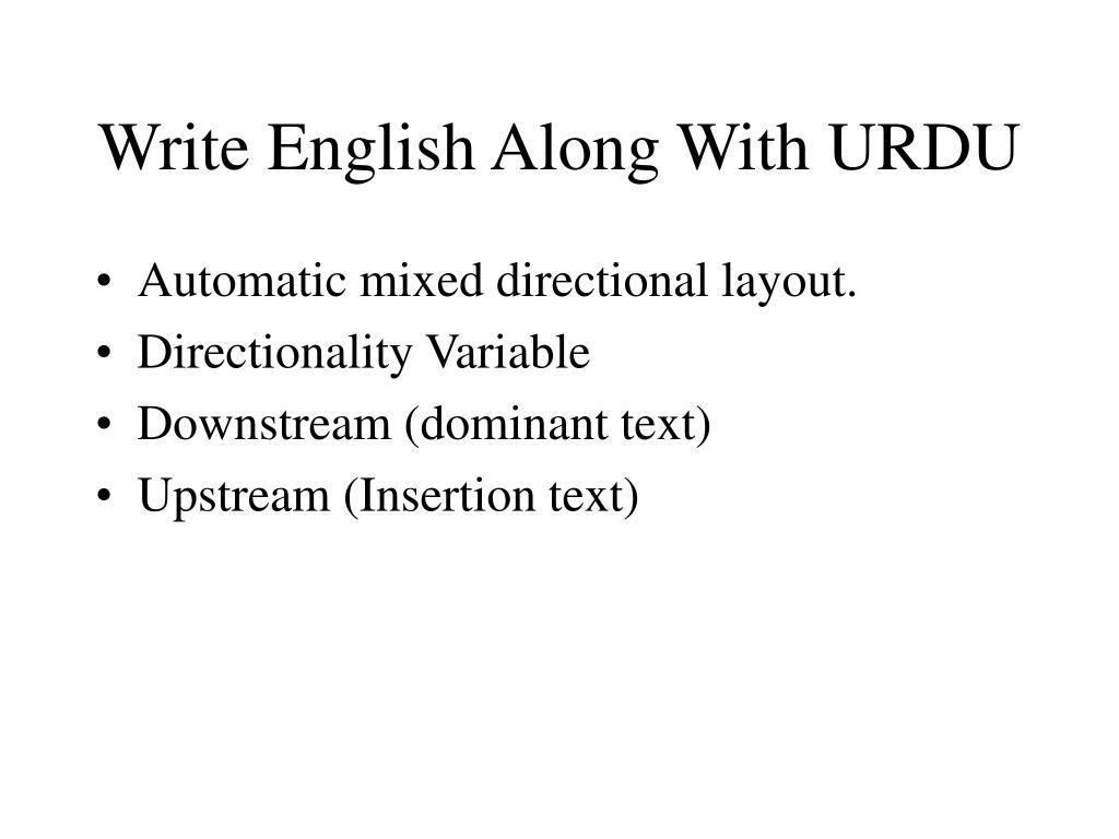 Write English Along With URDU