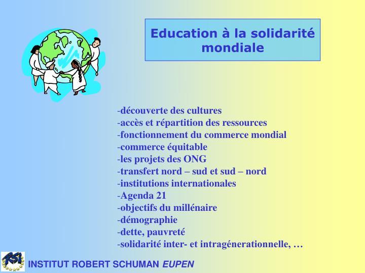 Education à la solidarité mondiale