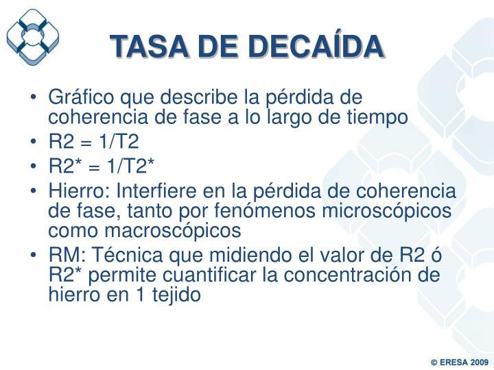 TASA DE DECAÍDA