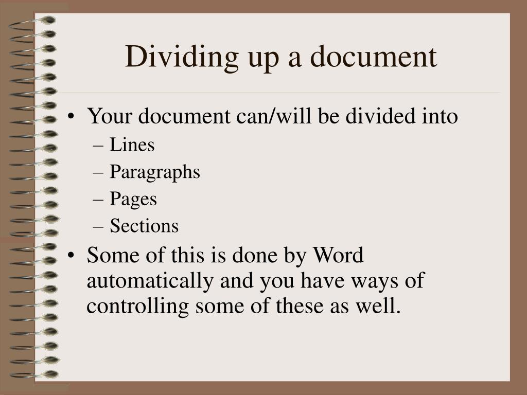 Dividing up a document