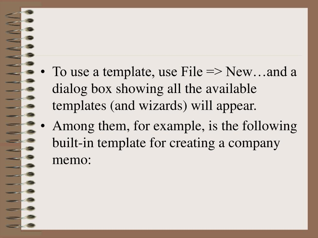 To use a template, use File => New…and a dialog box showing all the available templates (and wizards) will appear.