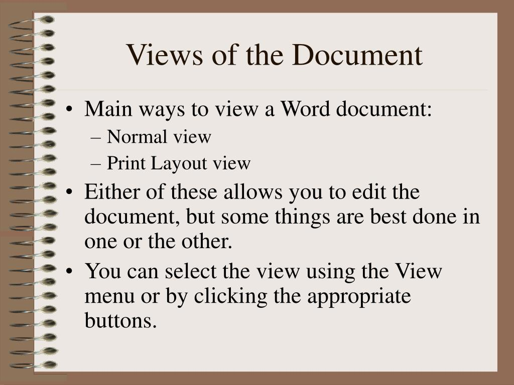 Views of the Document