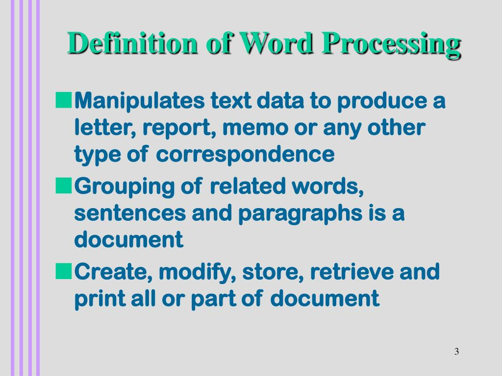 Definition of Word Processing