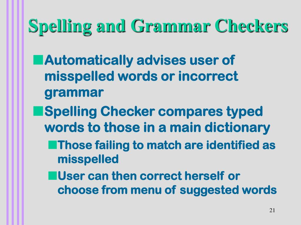 Spelling and Grammar Checkers