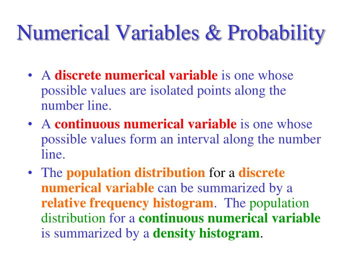 Numerical Variables & Probability