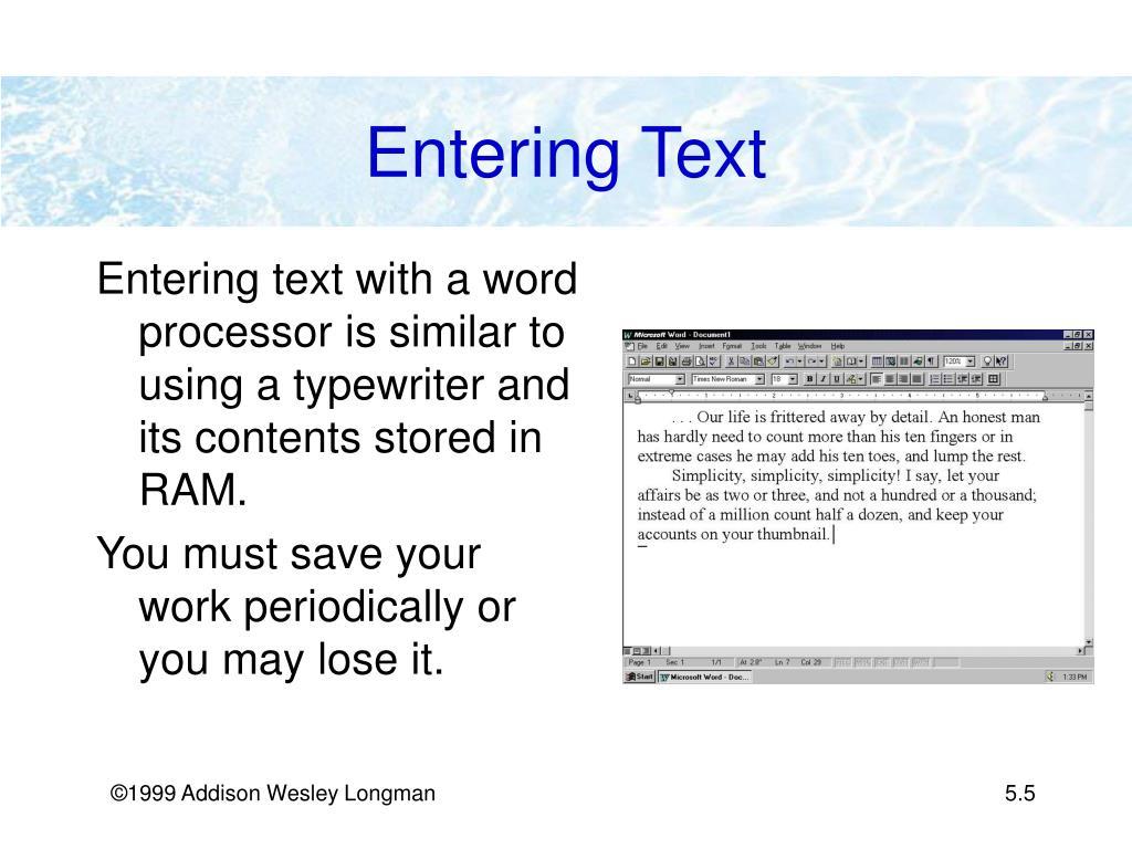 Entering Text