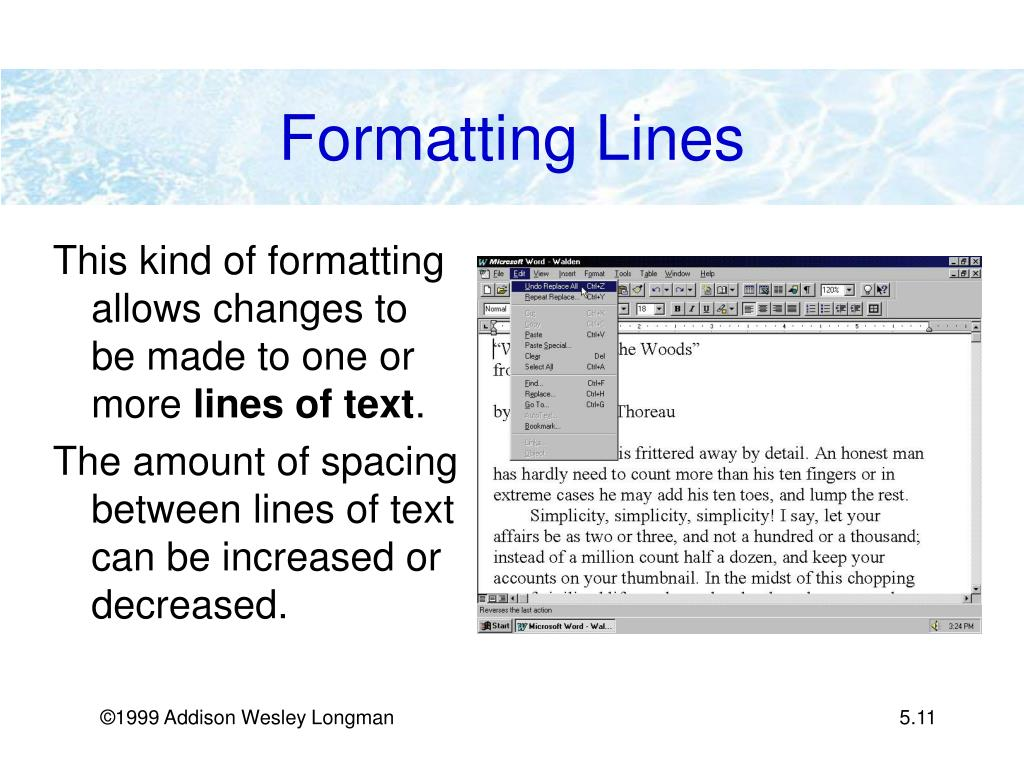 Formatting Lines