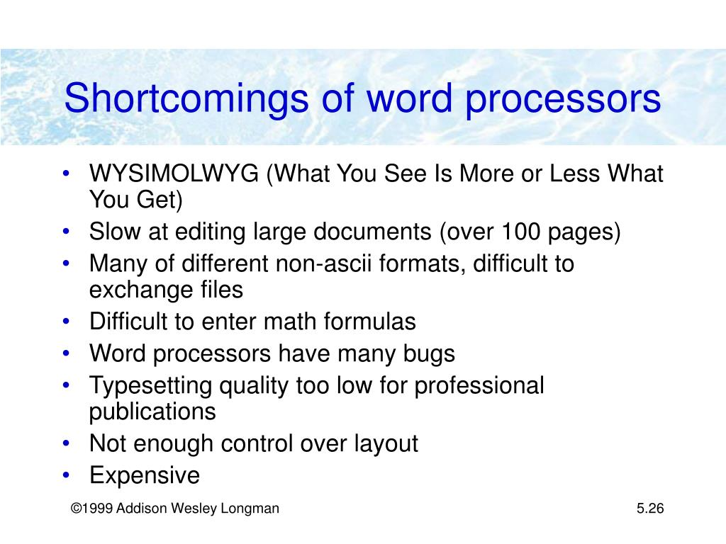Shortcomings of word processors