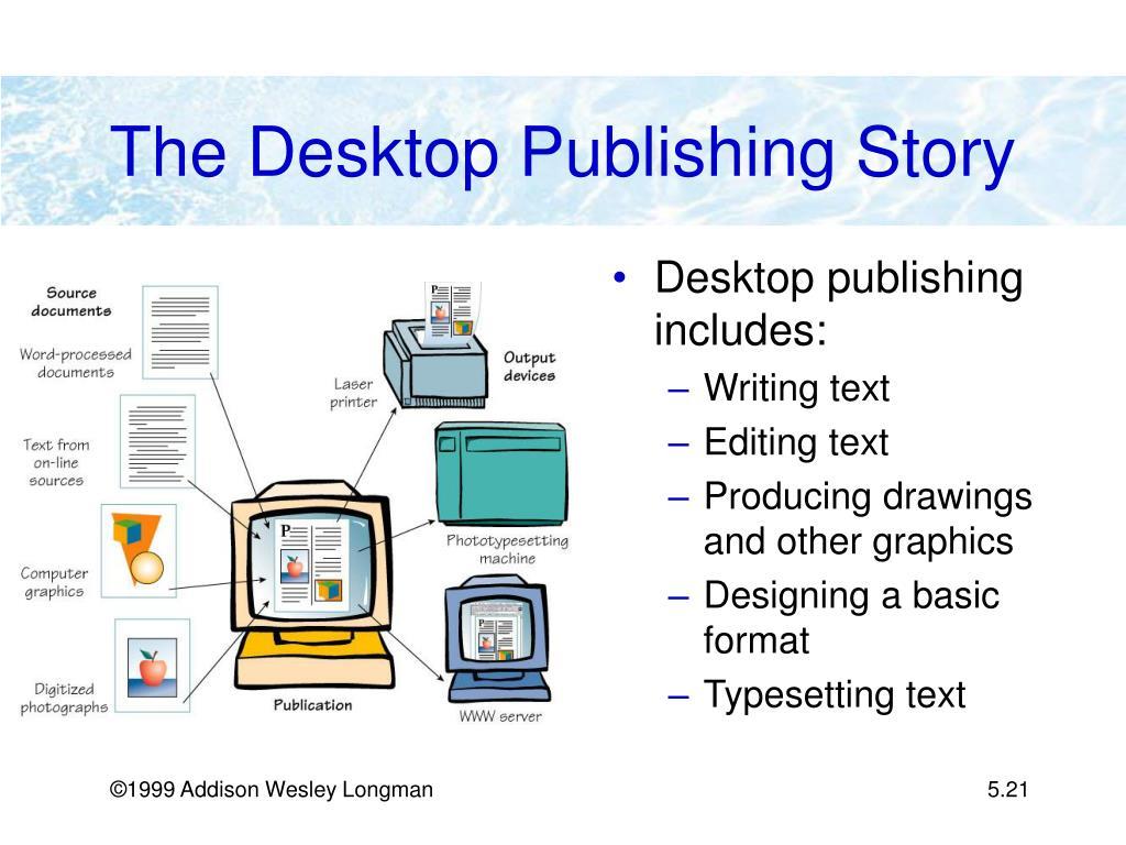 Desktop publishing includes: