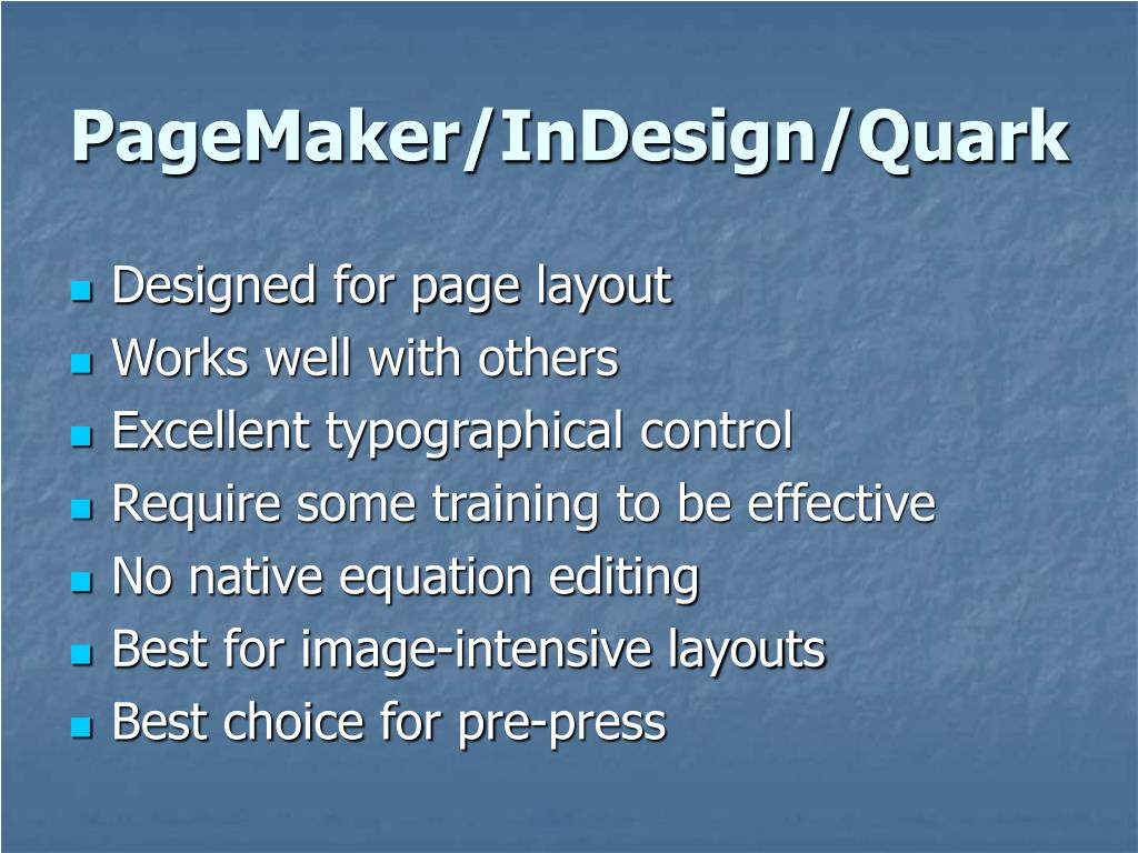 PageMaker/InDesign/Quark