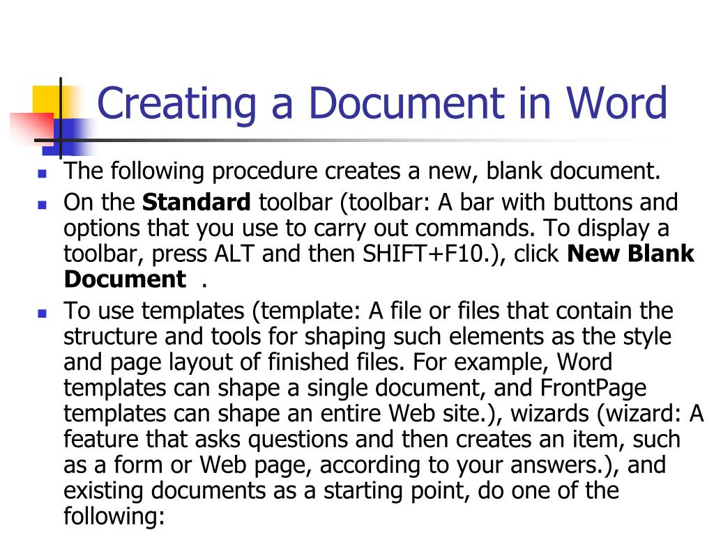 Creating a Document in Word