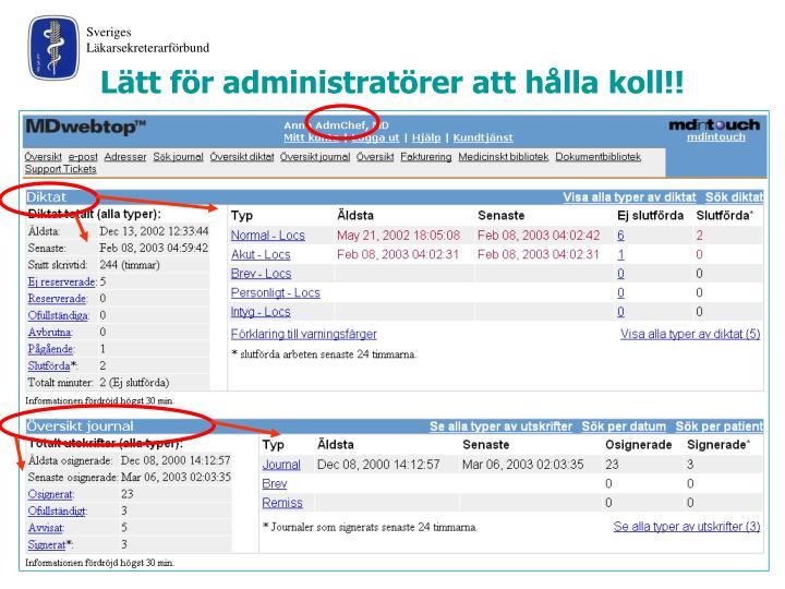 Lätt för administratörer att hålla koll!!