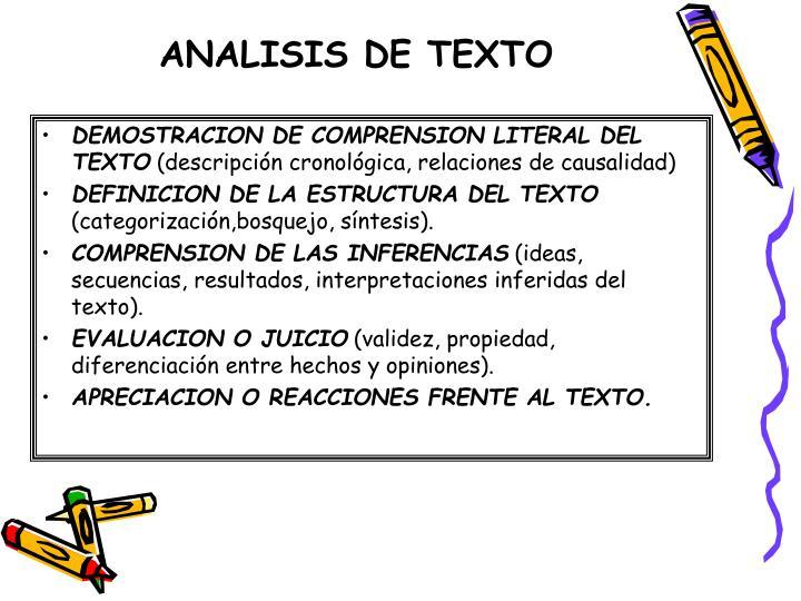 DEMOSTRACION DE COMPRENSION LITERAL DEL TEXTO