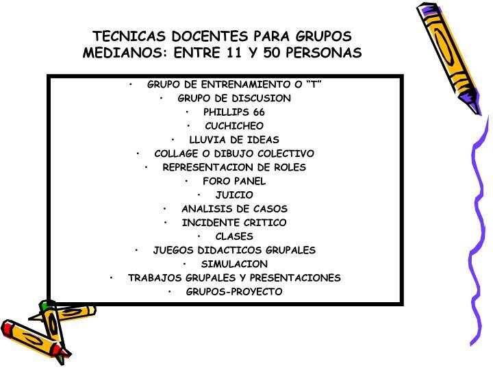 TECNICAS DOCENTES PARA GRUPOS MEDIANOS: ENTRE 11 Y 50 PERSONAS