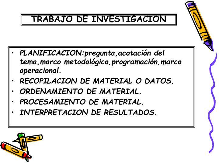 PLANIFICACION:pregunta,acotación del tema,marco metodológico,programación,marco operacional.
