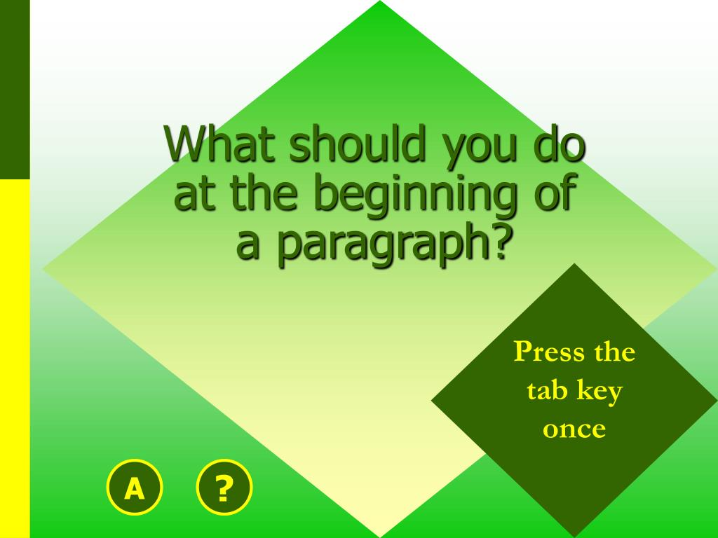 What should you do at the beginning of a paragraph?