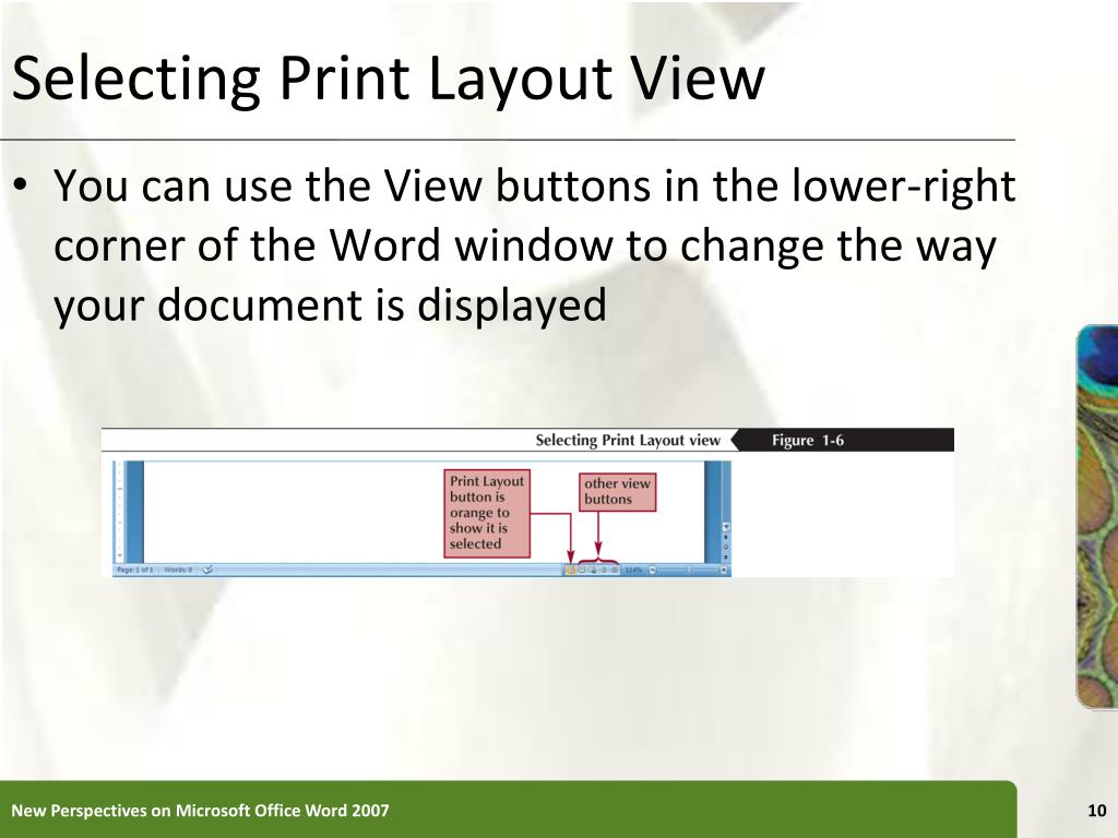 Selecting Print Layout View
