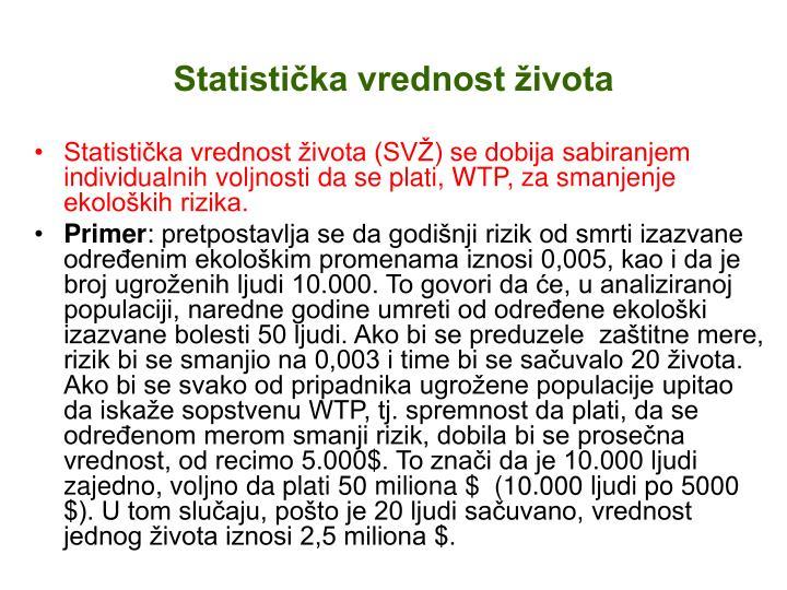Statistička vrednost života