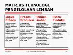 matriks teknologi pengelolaan limbah