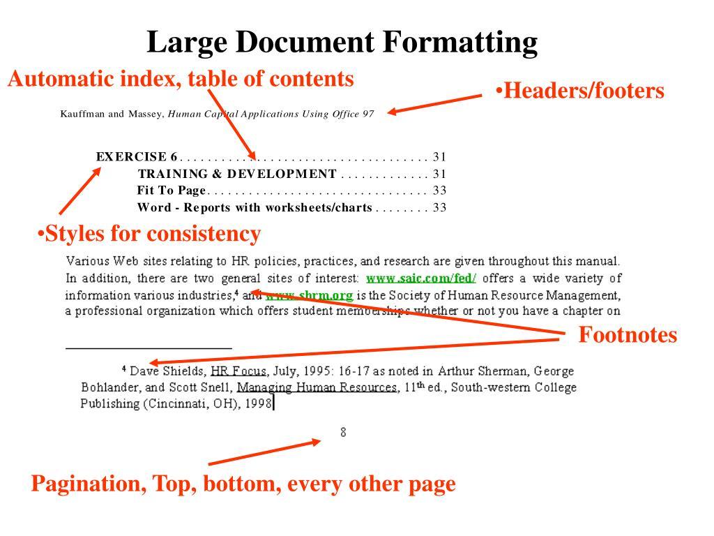 Large Document Formatting