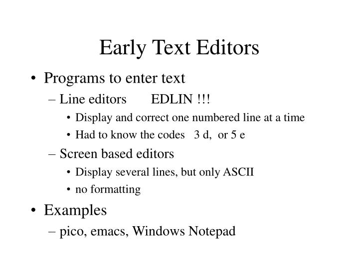 Early text editors