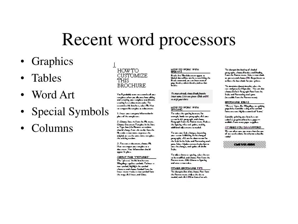 Recent word processors
