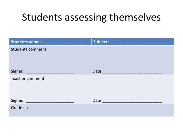 Students assessing themselves