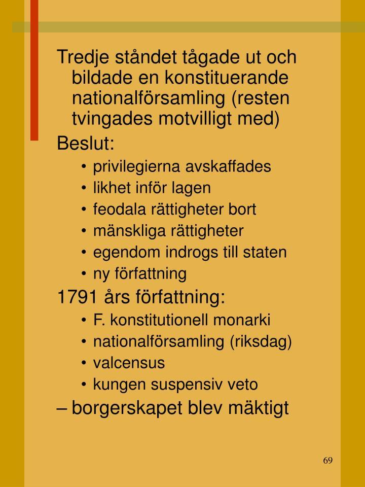 Tredje ståndet tågade ut och bildade en konstituerande nationalförsamling (resten tvingades motvilligt med)