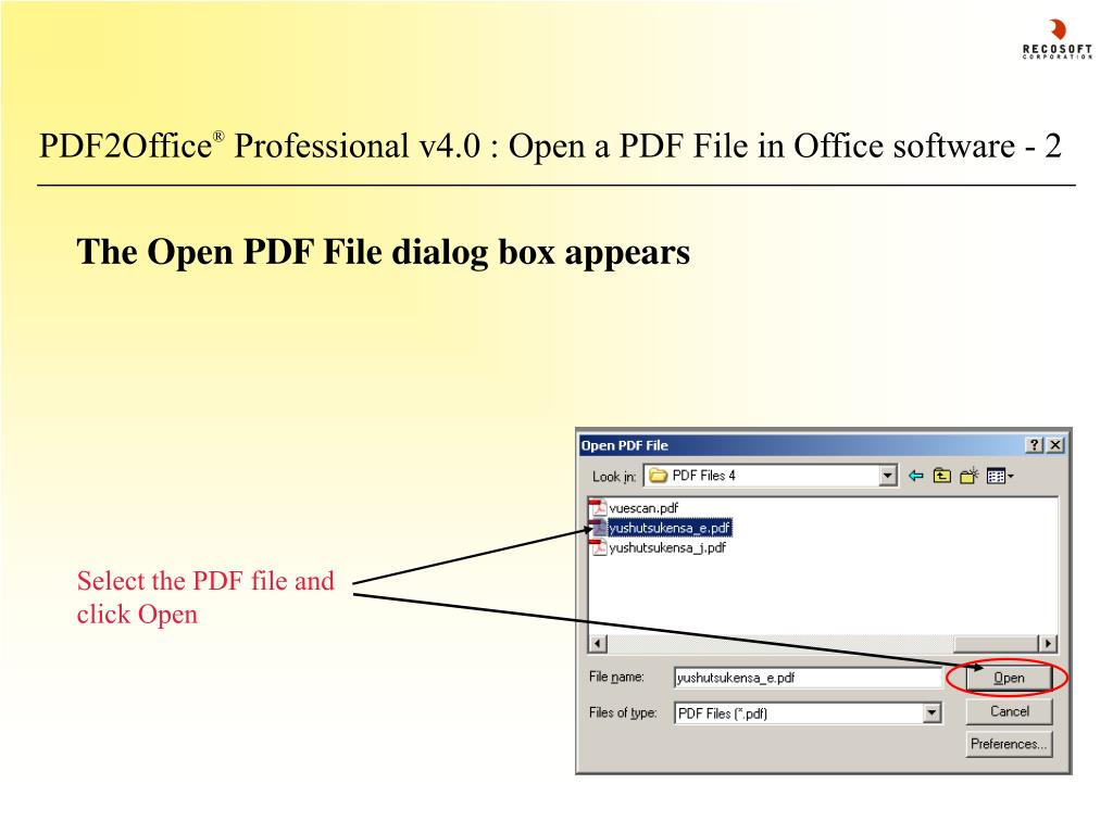 Select the PDF file and click Open