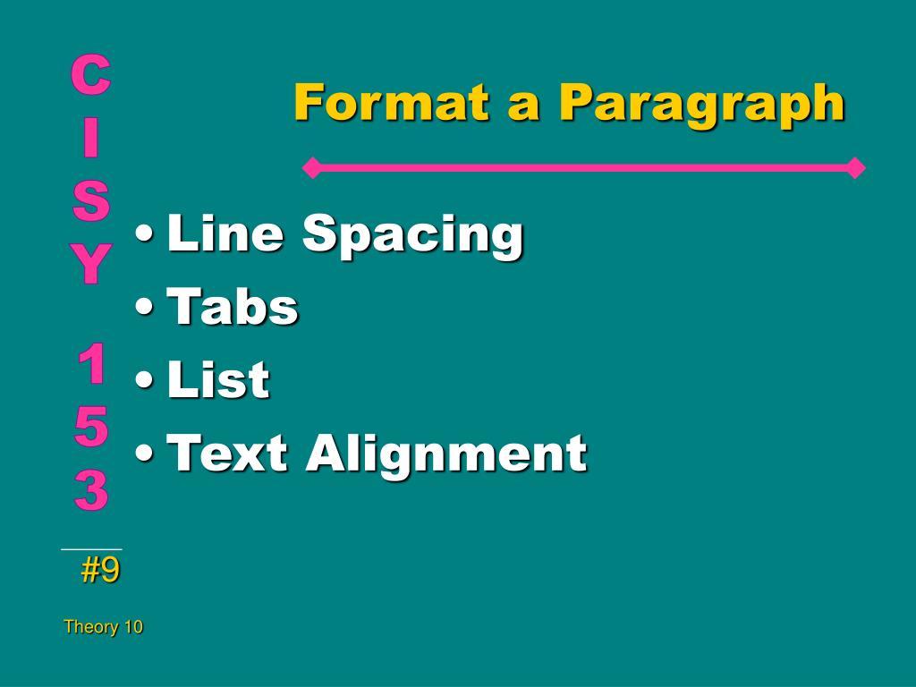 Format a Paragraph