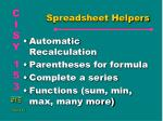 spreadsheet helpers