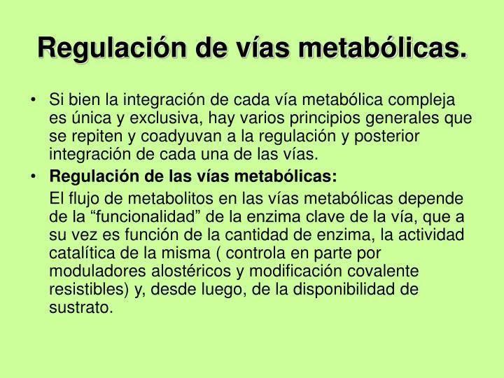 Regulación de vías metabólicas.