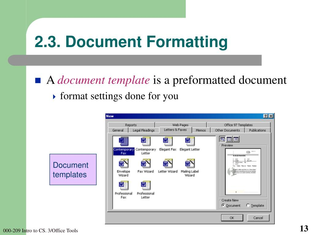 2.3. Document Formatting