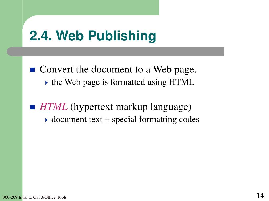 2.4. Web Publishing