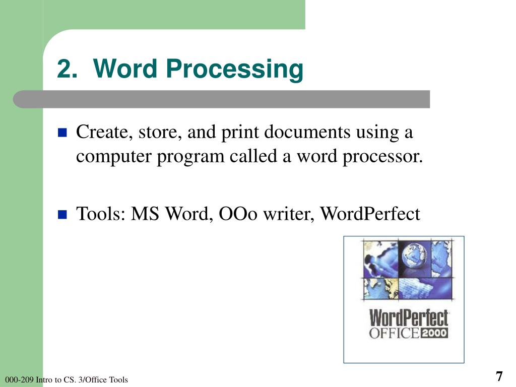 2.  Word Processing